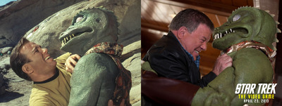 "William Shatner and his Gorn co-star in the classic  Star Trek episode ""Arena"" (1967) and now (2013).  (PRNewsFoto/Paramount Pictures Corporation)"