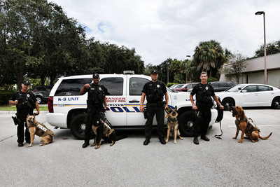 PetArmor(R), known for its veterinarian-quality products that protect dogs and cats from fleas and ticks, has partnered with Vested Interest in K-9s in Jupiter and Riviera Beach, Florida to outfit all K-9 units with bullet and stab protective vests.  (PRNewsFoto/PetArmor)