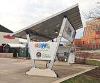 Solar EV charging station.