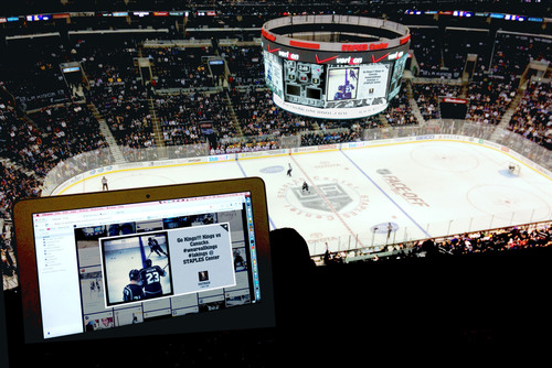 L.A. Kings using Postano curation during live game. (PRNewsFoto/TigerLogic Corporation) (PRNewsFoto/TIGERLOGIC CORPORATION)