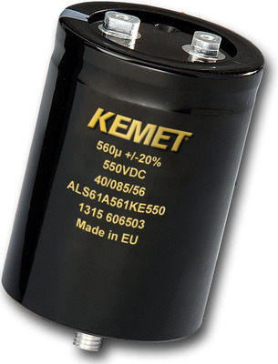 KEMET ALS60/61 Screw Terminal Aluminum Electrolytic Capacitor.  (PRNewsFoto/KEMET Corporation)