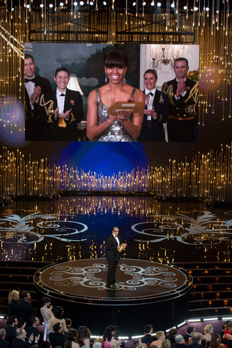 Purchase College Professor David Grill was honored by serving as the lighting director for First Lady Michelle Obama, as she presented the Academy Award for Best Picture at this year's Oscars. Photo provided by The Academy of Motion Picture Arts and Sciences. (PRNewsFoto/Purchase College-SUNY) (PRNewsFoto/PURCHASE COLLEGE-SUNY)