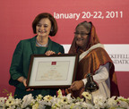 Mrs. Blair was conferred the AUW Chancellorship by the Prime Minister of Bangladesh, Sheikh Hasina, shown above.  (PRNewsFoto/Asian University for Women Support Foundation)