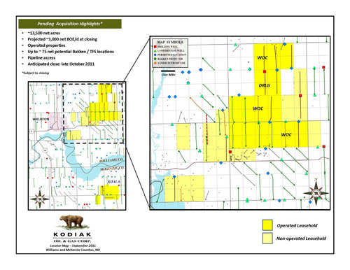 Kodiak Oil & Gas Corp. Agrees to Acquire Williston Basin Producing Properties and Undeveloped