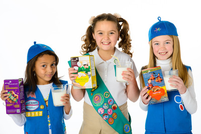 The California Milk Processor Board (CMPB), the creator of GOT MILK?, and the Girl Scouts in California revealed today the names and faces of the three grand prize winners of the GOT MILK? - Girl Scouts Photo Contest. They include (left to right): Madison Glock, 6, from Girl Scouts of Northern California, Maria Isabella Burritt, 10, from Girl Scouts San Diego and Eleanor Massey, 7, from Girl Scouts of Greater Los Angeles.  (PRNewsFoto/California Milk Processor Board)