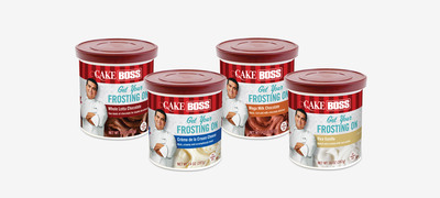 New Cake Boss frostings available in four indulgent flavors: Whole Lotta Chocolate, Viva Vanilla, Mega Milk Chocolate and Creme de la Cream Cheese. Made with high quality ingredients and zero trans-fat, the frostings pair perfectly with Cake Boss cake mixes.  (PRNewsFoto/Dawn Foods, Inc.)