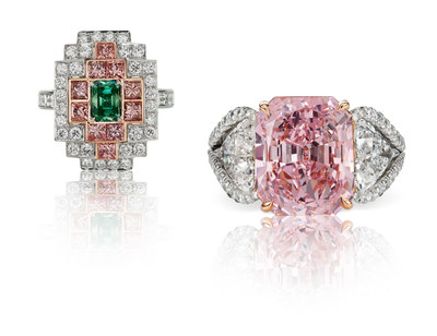 "Left: ""The Deco Green"" Emerald-cut 1.01-carat Natural Fancy Vivid Bluish Green diamond, VS2, set in a ring with Argyle Pink diamonds totaling 1.31 carats and white diamonds. GIA certified. Right: ""The Lady in Pink"" Radiant-cut 7.17-carat Natural Fancy Intense Purple-Pink diamond (Type lla), VVS2, set in a ring with two 1.50-carat white diamonds (E,F Color). GIA certified. For more information visit theoneandonlyone.com"