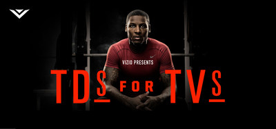"VIZIO and San Francisco Wide Receiver Stevie Johnson Launch 2014 ""TDs For TVs"" Campaign, Giving Back to Fans Across the Country and Boys & Girls Clubs of America. Third Annual Program Features Weekly TVs Awarded with Prizing Upgrades When Johnson Scores (PRNewsFoto/VIZIO, Inc.)"