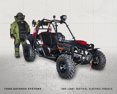 New EOD Rapid Response, Light Tactical Electric Vehicle by TORQ Defense Systems. This swift and silent multi-terrain EOD vehicle was developed specifically to further enhance the readiness of America's first responders. The TORQ LTEV enables a fully suited explosive ordnance disposal technician to rapidly deploy down range while easily transporting all the tools deemed necessary to identify, diagnose and disrupt suspected or real explosive devices. The high-torque LTEV's rugged design and unique off-road capabilities deliver light tactical mobility in often complex, high-density urban areas.