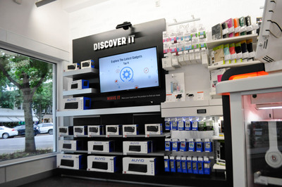 RadioShack is rolling out a select number of new concept stores in high-traffic, high-profile locations as it reinvigorates its stores and repositions its brand. These high-touch locations are filled with interactive features and playful experiences like this sound station seen at the newest concept store located at 68 Main St. in Southampton, New York. Shoppers interact with the touch screen or wave a hand over the display to learn more about any of the three AUVIO Bluetooth speakers, which are available only at RadioShack.(PRNewsFoto/RadioShack Corporation)