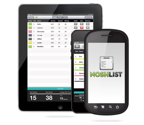 NoshList waitlist mobile apps available for iOS and Android.  (PRNewsFoto/Firespotter Labs)