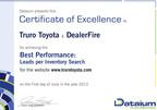 Certificate of Excellence to Truro Toyota & DealerFire.  (PRNewsFoto/DealerFire)