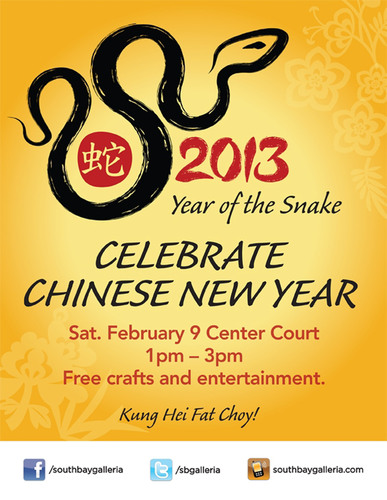 South Bay Galleria will dance its way into Chinese New Year with a new event on February 9, 2013.  ...