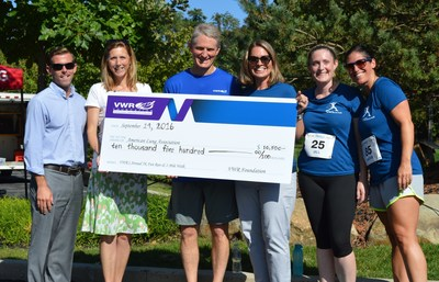 VWR Foundation President, Board and Committee Members present a check to the American Lung Association. (L-R:  Dan Green, Vice President of Development of ALA in PA; Christy Dernlan, Development Director of ALA in PA; George Van Kula, Board Member of VWR Foundation; Valerie Collado, President of VWR Foundation; Jill Golden, Board Member of VWR Foundation; and Jackie Zerillo, Committee Member of VWR Foundation)
