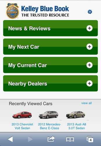 Kbb.com launches newly redesigned, app-like mobile website with new car-shopping features.  Also available on kbb.com and now on the mobile-optimized website, visitors can research 360-degree vehicle views, expert and consumer reviews by model, safety ratings, vehicle specifications, new-car comparisons, a view of the latest models added to kbb.com, and the hottest luxury models currently being viewed on the site.  (PRNewsFoto/Kelley Blue Book)