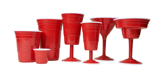 Red Cup Living's family of reusable & dishwasher safe red cups.  Family includes: wine cup 8 oz & 14 oz., iconic 18 oz. cup, XL 32 oz. cup, margarita cup, cocktail cup, shooter cup, magnetic bottle opener and stoneware coffee mug.  (PRNewsFoto/Red Cup Living)
