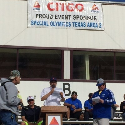CITGO Corpus Christi Refinery Manager of Operations and Maintenance Alirio Zambrano officially opens the Special Olympics Area 2 South Texas Spring Games by expressing the importance of inclusion and working together to support athletes with special needs.