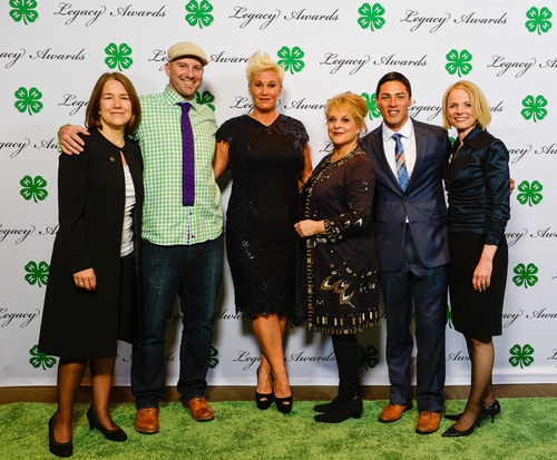 (L to R) National 4-H Council Board of Trustees Chair Alison Lewis; Facebook Executive Andrew Bosworth; Celebrity Chef Anne Burrell; CNN Headline News Host Nancy Grace; Arizona 4-H'er Andres Parra; and National 4-H Council President and CEO Jennifer Sirangelo. (PRNewsFoto/National 4-H Council) (PRNewsFoto/NATIONAL 4-H COUNCIL)