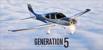 Generation 5 Cirrus SR-22 airplane.  (PRNewsFoto/Cirrus Aircraft)