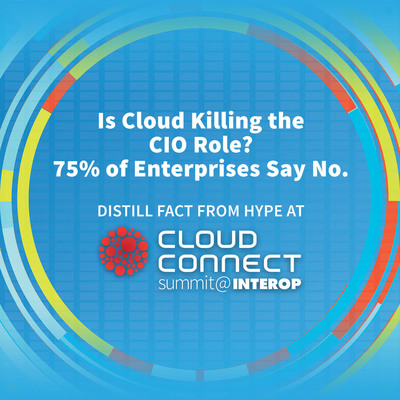 Is Cloud Killing the CIO Role?  75% of Enterprises Say No. Cloud Connect Summit to Distill The Facts from Hype in Las Vegas, March 31 - April 1, 2014.(PRNewsFoto/UBM Tech)