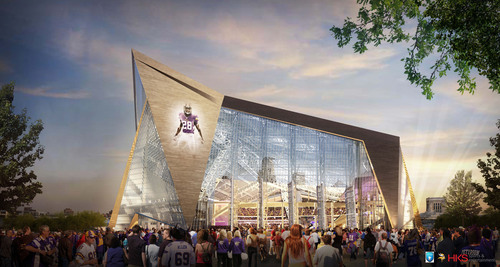 Rendering of new Minnesota multi-purpose stadium.  Image courtesy of HKS Sports and Entertainment Group.  (PRNewsFoto/Minnesota Sports Facilities Authority)