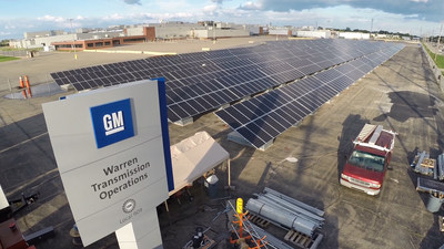 DTE Energy's finished solar installation at GM Warren Transmission Plant