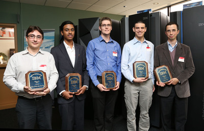 The top winners of IBM's 2012 Master the Mainframe Contest from North America, Spain and Spanish Latin America were flown to Poughkeepsie, NY for an awards ceremony.  From the left: Paolo Carlos, Madrid; Sushain Cherivirala, Dulles High School; Miles Nosler, Texas State University; Benjamin Paul, Rose-Hulman Institute of Technology; Nahuel Tori, Argentina.  (PRNewsFoto/IBM)