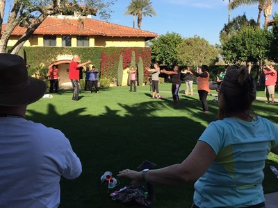 Caregivers of wounded veterans practice yoga in southern California