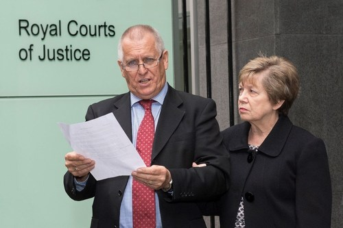 Dave Ames, owner of Harlequin, outside of court this morning with his wife Carol. (PRNewsFoto/Harlequin)