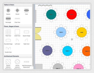 Quickly build colorful, to-scale event floor plans online. (PRNewsFoto/Planning Pod) (PRNewsFoto/PLANNING POD)