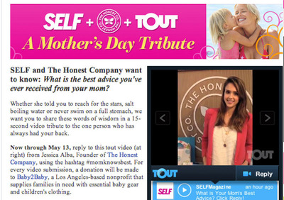 Jessica Alba of The Honest Company Touts about her Mothers Day promotion with Self Magazine. The promotion runs today through May 13th at www.self.com with the winner announced on May 14th.