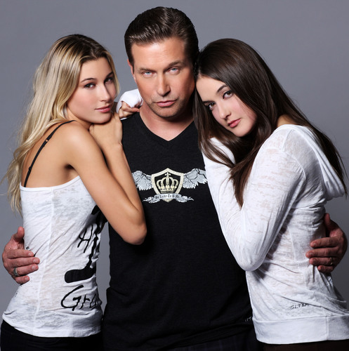Stephen Baldwin poses with his beautiful teenage daughters Alaia and Hailey in So Lucky To B Me casual wear. ...