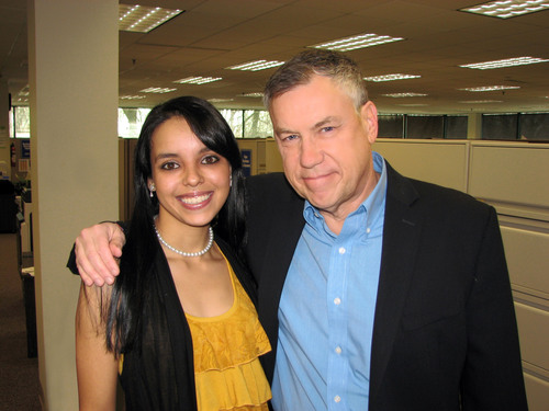 """Don Fertman, Chief Development Officer for the SUBWAY(r) restaurant chain, reunites with restaurant assistant manager, Jessi Polk of Orlando. The duo, who appeared on the second season of CBS's hit reality show """"Undercover Boss"""" in 2010, will be making another appearance on the program on Friday, May 17 (8:00-9:00 PM, ET/PT), for a special episode titled """"Undercover Boss: Epic Bosses.""""  (PRNewsFoto/SUBWAY Restaurants)"""