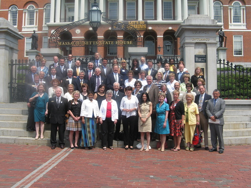 Members of the Greater Boston Association of REALTORS(R) Outside the State House on June 8, 2011.  ...