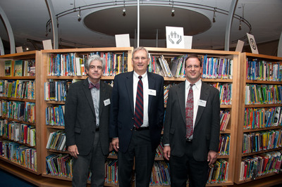 The Eugene & Marilyn Glick Indiana Authors Award annually recognizes the contributions of Indiana authors to the state and national literary landscapes. Award winners receive a cash prize and, in addition, each winner's Indiana hometown public library receives a grant of $2,500 from the Indianapolis Public Library Foundation, which is funded by the generosity of The Glick Fund.The 2013 Indiana Authors Award winners are, from left to right: National Winner Michael Martone, a native of Fort Wayne, Ind.; Regional Winner James H. Madison from Bloomington, Ind.; and Emerging Author Winner Mike Mullin from Indianapolis.  (PRNewsFoto/The Indianapolis Public Library Foundation)