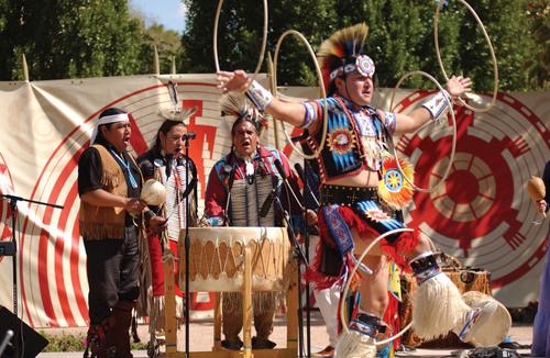 Derrick Suwaima Davis (Hopi/Choctaw), artistic director for Native Trails and five-time world-champion hoop ...