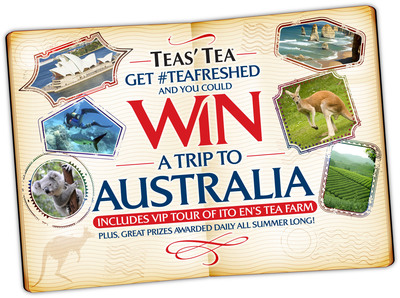 TEAS' TEA LAUNCHES SUMMER PROMOTION GET #TEAFRESHED - GRAND PRIZE OF A TRIP FOR TWO TO AUSTRALIA.  (PRNewsFoto/ITO EN)
