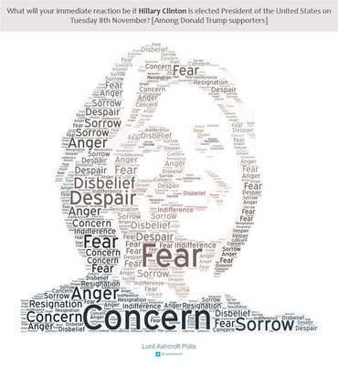Words chosen by Trump voters to describe how they would feel if Clinton were to win (PRNewsFoto/lordashcroftpolls.com)