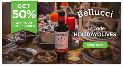 Receive 50% off your entire order of Bellucci extra virgin olive oil when you order online at store.belluccipremium.com/en