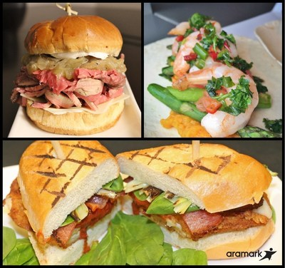 Aramark's culinary team created a special post-season sandwich for their fans' enjoyment, incorporating ingredients reflective of the spring season, including CONSOL Energy Center's Hickory-Smoked Ribeye Grinder (top left), Quicken Loans Arena's Spring Shrimp Taco, from celebrity chef partner, Rocco Whalen (top right) and SAP Center's The Big O (bottom).