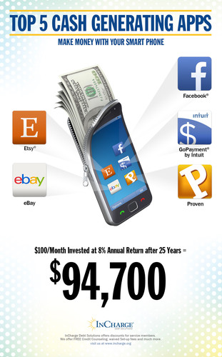 Make Money With Your Smart Phone.  InCharge Debt Solutions Top 5 Cash Generating Apps.  (PRNewsFoto/InCharge ...