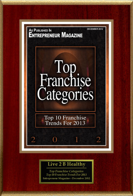 "Live 2 B Healthy(R) Senior Fitness Selected For ""Top Franchise Categories""  (PRNewsFoto/Live 2 B Healthy(R) Senior Fitness)"