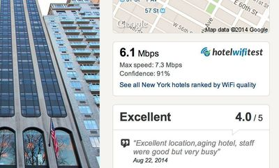 The browser extension displays the WiFi speed information on Hotels.com.
