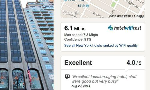 The browser extension displays the WiFi speed information on Hotels.com. (PRNewsFoto/Hotel WiFi Test)
