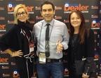 Kim DePalma, of Dealer Communications, presented the 16th Digital Dealer Website Excellence Award to Christian Salazar and Gina Reuscher, of DealerFire. (PRNewsFoto/DealerFire)