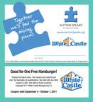 White Castle continues its commitment to Autism Speaks during Autism puzzle piece campaign July 24 - Aug. 20.  (PRNewsFoto/White Castle System, Inc.)