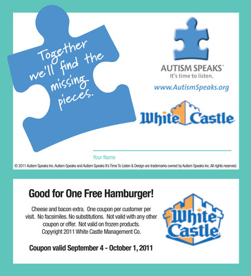 White Castle continues its commitment to Autism Speaks during Autism puzzle piece campaign July 24 - Aug. 20.  (PRNewsFoto/White Castle System, Inc.)
