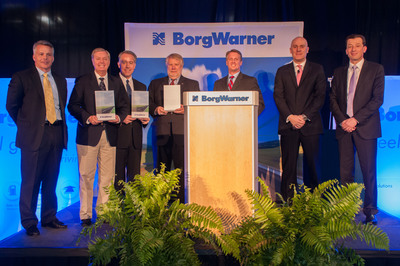 During a special event to announce the transfer case business award for the Toyota Tundra, BorgWarner hosted (left to right) BorgWarner TorqTransfer Systems Plant Manager Chris Walsh, U.S. Senator Lindsey Graham, Senior Vice President of TEMA Chris Nielsen, South Carolina Secretary of Commerce Bobby Hitt, Oconee County Council Administrator Scott Moulder, BorgWarner President and CEO James Verrier, and President and General Manager BorgWarner TorqTransfer Systems Dr. Stefan Demmerle. (PRNewsFoto/BorgWarner Inc.) (PRNewsFoto/BORGWARNER INC.)