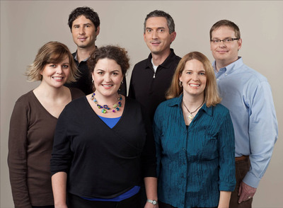 """Scholastic to Launch """"Infinity Ring,"""" a new multi-platform adventure series on September 2012, with first and last book by James Dashner. Pictured front from left: Lisa McMann, Carrie Ryan, Jennifer A. Nielsen; Rear from left: Matt de la Pena, James Dashner, Matthew J. Kirby.  (PRNewsFoto/Scholastic Corporation)"""