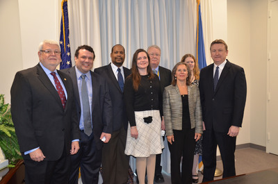 From left, American Federation of Government Employees National President J. David Cox Sr, AFGE Deputy Director of Field Services and Education Peter Winch, AFGE Local 3529 President LeRoy Turner, AFGE Labor Relations Specialist Cara James, AFGE Council 162 President Jim Galler, AFGE Council 163 President Linda Boryczka, DCAA Labor Relations Officer Kelley Jones and Defense Contract Audit Agency Director Patrick Fitzgerald take part in the signing of a new contract for DCAA bargaining unit employees Feb. 6, 2014, at DCAA's headquarters in Ft. Belvoir, VA.  (PRNewsFoto/American Federation of Government Employees, Chelsea Bland, AFGE Communications)